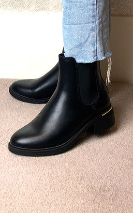 Chelsea Boots with Gold Heel Detail in Black by Truffle Collection
