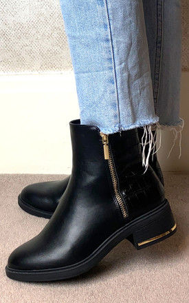 Ankle Boots with Croc and Gold Detail in Black by Truffle Collection