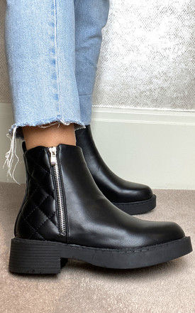 Quilted Zip Up Ankle Boots in Black by Truffle Collection