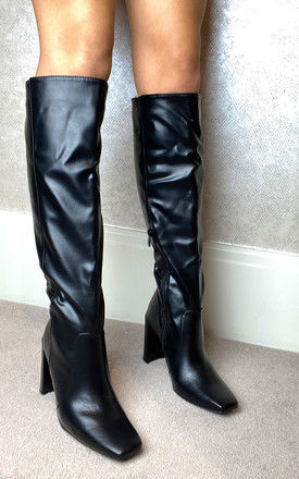 Knee High Heeled Boots in Black by Truffle Collection