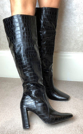 Knee High Heeled Boots in Black Croc by Truffle Collection