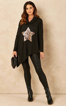 Sequin Leopard Star Top in Black by Bella and Blue