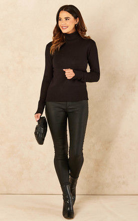 Roll Neck Knitted Top in Black by JJXX