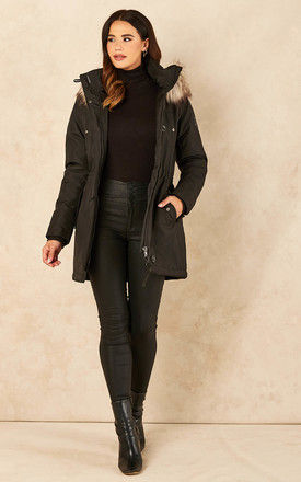 Parker Coat with Faux Fur Hood by ONLY