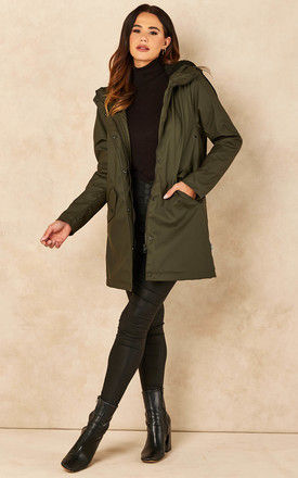 Raincoat with Teddy Lining in Khaki by ONLY