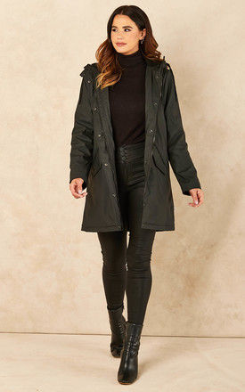 Raincoat with Teddy Lining in Black by ONLY