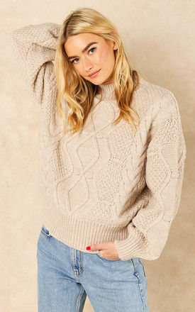 Cable Knit Jumper with Balloon Sleeves in Beige by Object
