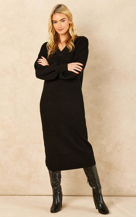 V Neck Balloon Sleeve Knitted Midi Dress in Black by Object