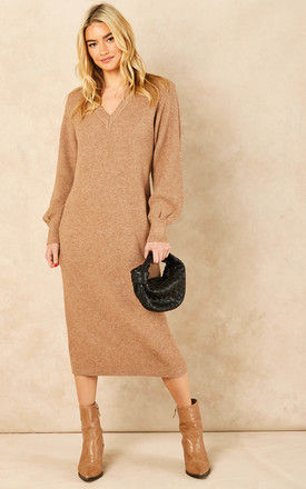 V Neck Balloon Sleeve Knitted Midi Dress in Camel by Object