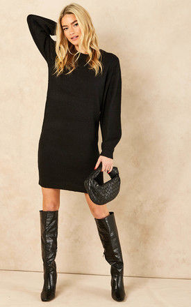 Knitted Dress with Balloon Sleeves in Black by Object