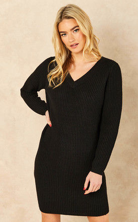 knitted dress with v neck in black by ONLY