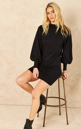 Knitted Mini Dress with Balloon Sleeves in Black by ONLY