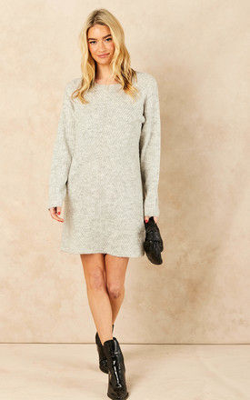 Jumper Dress with patterned knit in Light grey by ONLY