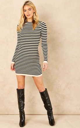Knitted Bodycon Mini Dress in Black and Cream Stripe by Pieces