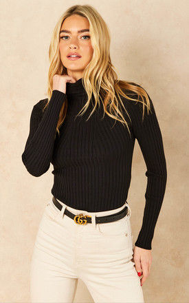 Roll neck ribbed knitted top in black by Pieces
