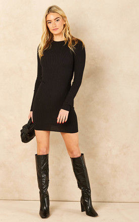Knitted Bodycon Mini Dress in Black by Pieces