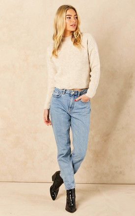 Ribbed Jumper with High Neck in Cream by VM