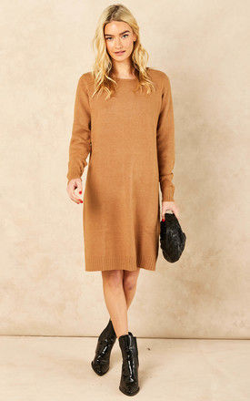 Jumper Dress With Round Neck In Camel by VILA