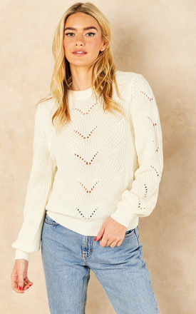 Round neck Jumper with eyelet detail in White by VILA