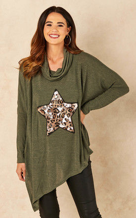 Sequin Leopard Star Top In Green by Bella and Blue