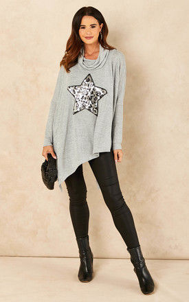Sequin Leopard Star Top in Grey by Bella and Blue