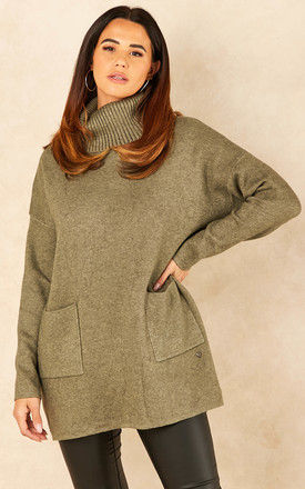 Roll Neck Jumper with Pockets in Khaki by Bella and Blue