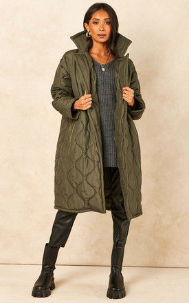 Quilted Coat in Khaki by Bella and Blue