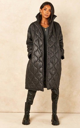 Quilted Coat in Black by Bella and Blue