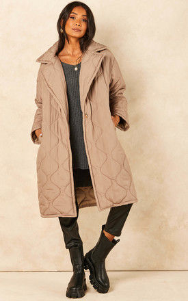 Quilted Coat in Beige by Bella and Blue