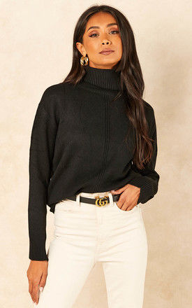 Roll Neck Jumper in Black by Bella and Blue