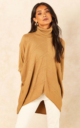 Roll Neck Jumper with Chevron Detail in Camel by Bella and Blue