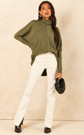 Roll Neck Jumper with Chevron Detail in Khaki by Bella and Blue