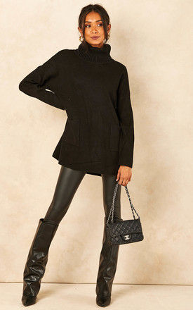 Roll Neck Jumper with Pockets in Black by Bella and Blue
