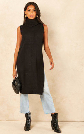 Sleeveless knitted Roll neck Tunic in Black by VILA