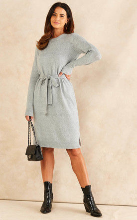 Knitted Dress with Tie Waist in Light Grey by Pieces