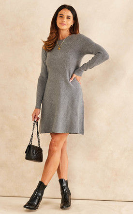 Knitted Skater Dress in Mid Grey by VM