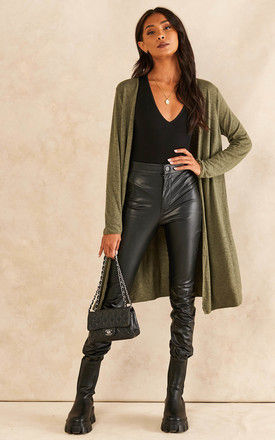 Open Front Longline Cardigan in Khaki by Bella and Blue