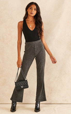 Flared Trousers in Dark Grey by Pieces