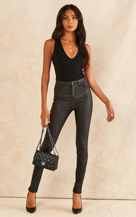 High Waist Coated Trousers in Black by VM