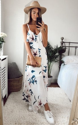 Evie Floral Print Cami Midi Dress White Grey by Girl In Mind