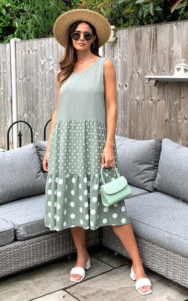 Sleeveless Tiered Midi Dress with Contrasting Polka Dots in Khaki by Bella and Blue