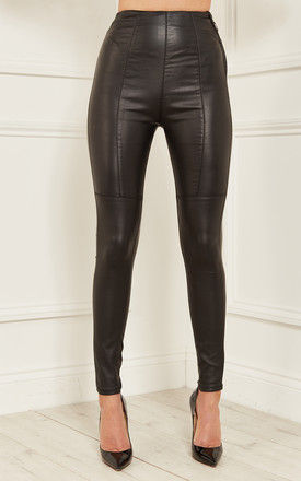 Black Faye High Waisted Wax Coated Side Zip Trousers by Bella and Blue
