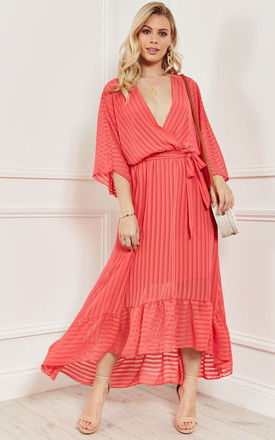 Coral Plunge Maxi Dress by Bella and Blue