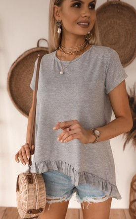 Oversize casual Summer Top/T-shirt with frill in Grey by Jenerique