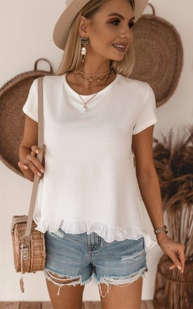 White Summer Top/T-shirt with frill by Jenerique