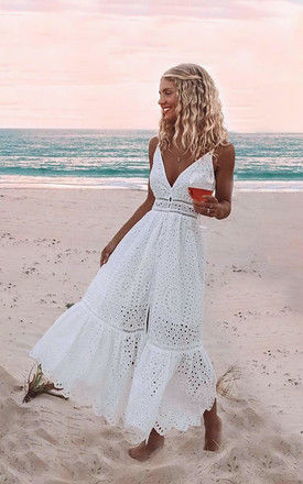 Bronte long white embroidery anglaise maxi dress by AMO