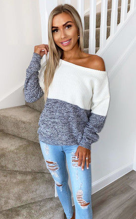 Ivory And Black Knit Off Shoulder Jumper by AX Paris