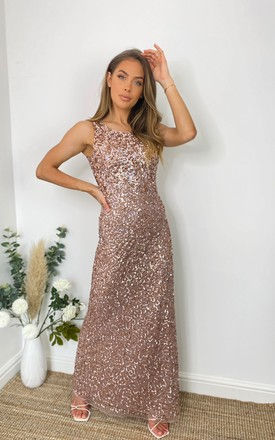 BLAKELY ALL OVER SEQUIN MAXI DRESS IN ROSE GOLD by Sistaglam
