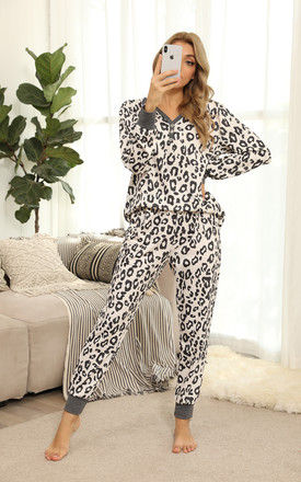 Mono Leopard Loungewear Co Ord Set In Grey by FS Collection