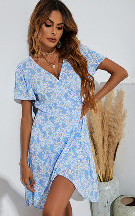 Boho Summer Mini Dress In Blue & White Floral by FS Collection